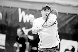 June 22, 2018 - L'Aquila, Italy - (EDITORS NOTE: Image has been converted to black and.white.) Daniel Elahi Galan during match between Daniel Elahi Galan (COL) and Facundo Bagnis (ARG) during day 7 at the Internazionali di Tennis Citt dell'Aquila (ATP Challenger L'Aquila) in L'Aquila, Italy, on June 22, 2018. (Credit Image: © Manuel Romano/NurPhoto via ZUMA Press)