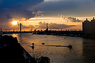 Sunset on the Savannah River with the Talmadge Memorial Bridge.