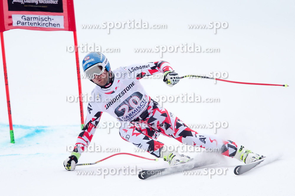 27.02.2015, Kandahar, Garmisch Partenkirchen, GER, FIS Weltcup Ski Alpin, Abfahrt, Herren, 2. Training, im Bild Georg Streitberger (AUT) // Georg Streitberger of Austria in action during the 2nd trainings run for the men's Downhill of the FIS Ski Alpine World Cup at the Kandahar course, Garmisch Partenkirchen, Germany on 2015/27/02. EXPA Pictures © 2015, PhotoCredit: EXPA/ Johann Groder