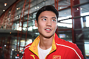 BEIJING, CHINA - AUGUST 16: <br /> <br /> Ning Zetao of Chinese Swimming Team arrives at the airport after competing in the Rio 2016 Olympic Games on August 16, 2016 in Beijing, China.<br /> ©Exclusivepix Media