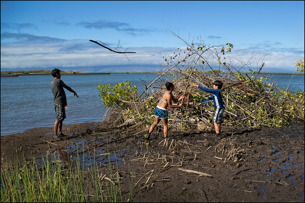 Participants help clean up the Keawanui Fishpond on Molokai.