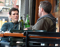 **EXCLUSIVE**.Matt Dillon dinning with a male friend and looking at all the girls that were passing by Bar Pitt Restaurant. He was so taken by Marina from the Dominican Republic who was sitting with her two girlfriends that when he was leaving he stop by her table introduce him self and asked for her phone number. .New York City, NY, USA .Sunday, October 14, 2007.Photo By Celebrityvibe.com.To license this image call (212) 410 5354 or;.Email: celebrityvibe@gmail.com; .Website: www.celebrityvibe.com .