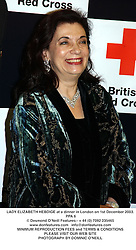 LADY ELIZABETH HEBDIGE at a dinner in London on 1st December 2003.<br /> PPA 6