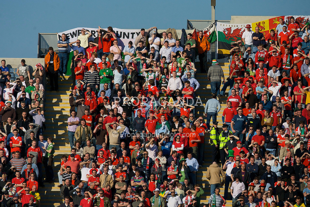 DUBLIN, REPUBLIC OF IRELAND - Saturday, March 24, 2007: Wales' fans on Hill 16 during the UEFA European Championships 2008 Group D qualifying match against Republic of Ireland at Croke Park. (Pic by David Rawcliffe/Propaganda)