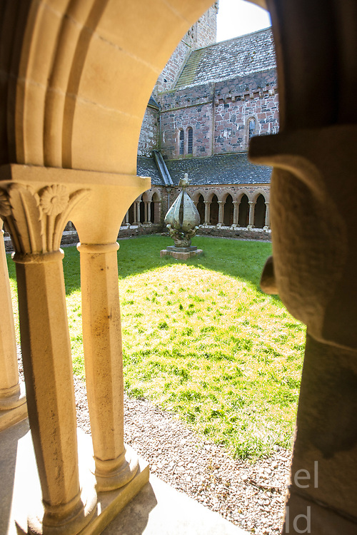 The cloisters of Iona Abbey..Iona is a small island in the Inner Hebrides off the western coast of Scotland. It was a centre of Irish monasticism for four centuries and is today renowned for its tranquility and natural beauty..©Michael Schofield..