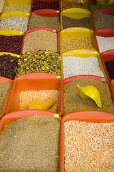 Corn and grains displayed in market, Cuzco, Peru, South America