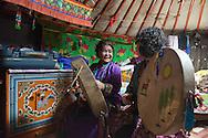 Mongolia. Ulaanbaatar. Mrs Batzaya Otgonzaya ,and  Mme Tserendolgor,  master shaman preparing a shamanic ceremony in a yurt  . Ulaan baatar