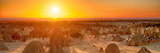 Sunset at the Pinnacles in Nambung National Park of Western Australia in Panorama