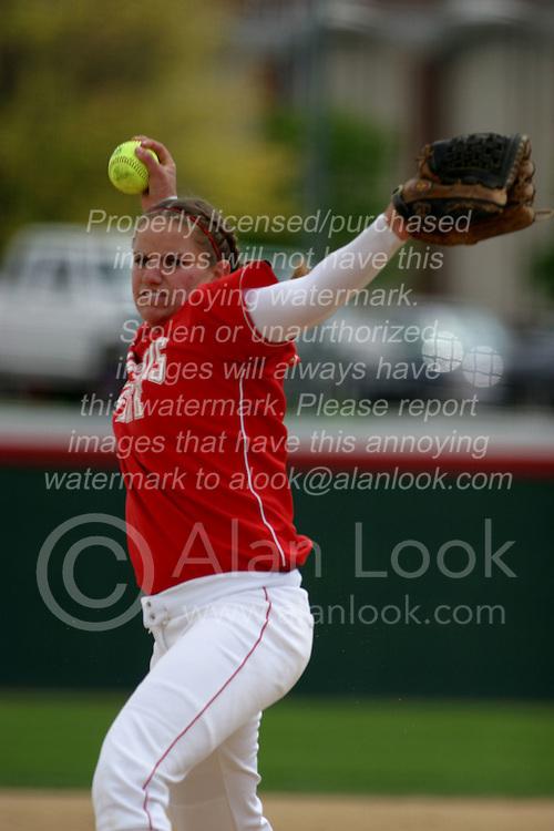 01 May 2005..ISU Pitcher Stacy Birk from the mound...ISU Redbirds V UNI (Northern Iowa) Panthers.  Illinois State University, Normal IL