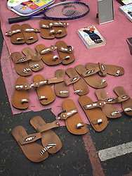 UK ENGLAND LONDON 20JUL13 - Sandals on sale at the flea market at Portobello Market, west London.<br /> <br /> <br /> <br /> jre/Photo by Jiri Rezac<br /> <br /> <br /> <br /> &copy; Jiri Rezac 2013