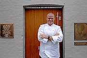 12/03/2009 Heston Blementhal stands outside the main door to his restaurant on the day it re-opened after a food poisoning scare affecting over 300 customers. It was later discovered the cause was infected fish from a supplier.