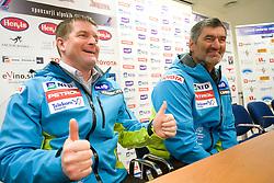 Matjaz Sarabon and Urban Planinsek at press conference of Men Slovenian alpine team before the World Championship in Val d'Isere, France,  on January 26, 2009, in Ljubljana, Slovenia.  (Photo by Vid Ponikvar / Sportida)