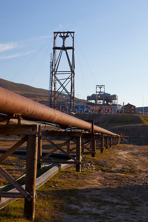 Thermal heating pipes in Longyearbyen, Svalbard. The northernmost settlement with more than 1,000 people on earth, it is  quite a well-serviced town, with an airport and university and hospital. The pipes come from the coal-fired power station, and form a heating network for the town.
