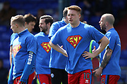 Rochdale players wear Super Josh t-shirts in recognition of 5 year old Rochdale supporter Josh McCormack who died earlier this year and in recognition of Oldham supporter Josh Wilson who is also battling cancer  during the EFL Sky Bet League 1 match between Oldham Athletic and Rochdale at Boundary Park, Oldham, England on 22 April 2017. Photo by Daniel Youngs.