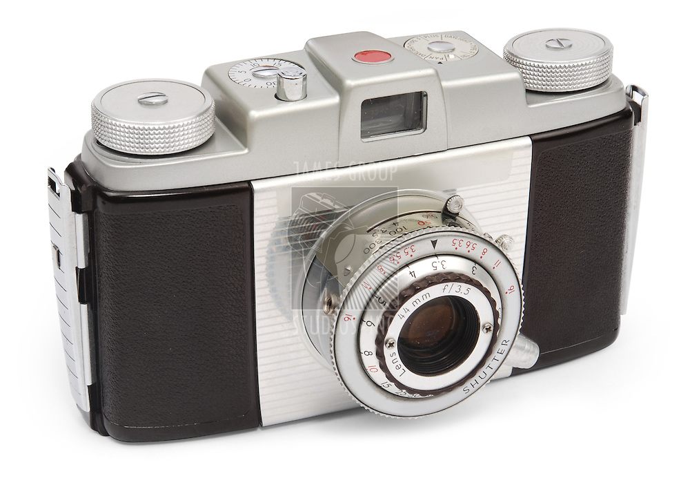vintage camera with view finder on white