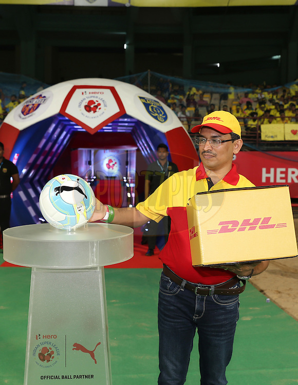 DHL delivers the match ball during match 48 of the Indian Super League (ISL) season 3 between Kerala Blasters FC and FC Pune City held at the Jawaharlal Nehru Stadium in Kochi, India on the 25th November 2016.<br /> <br /> Photo by Faheem Hussain / ISL / SPORTZPICS