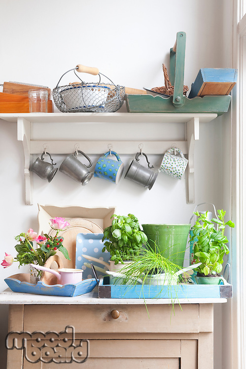 Cups and trays on kitchen dresser