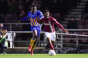 Northampton Town midfielder (on loan from Nottingham Forest) Gboly Ariybi (45) battles for possession during the EFL Sky Bet League 1 match between Northampton Town and Shrewsbury Town at Sixfields Stadium, Northampton, England on 20 March 2018. Picture by Dennis Goodwin.