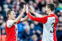 ROTTERDAM - Feyenoord - SC Cambuur , Voetbal , Seizoen 2015/2016 , Eredivisie , Feijenoord Stadion De Kuip , 06-03-2016 , Speler van Feyenoord Jens Toornstra (l) scoort de 1-0 en viert dit met de man van de assist Speler van Feyenoord Michiel Kramer (r)