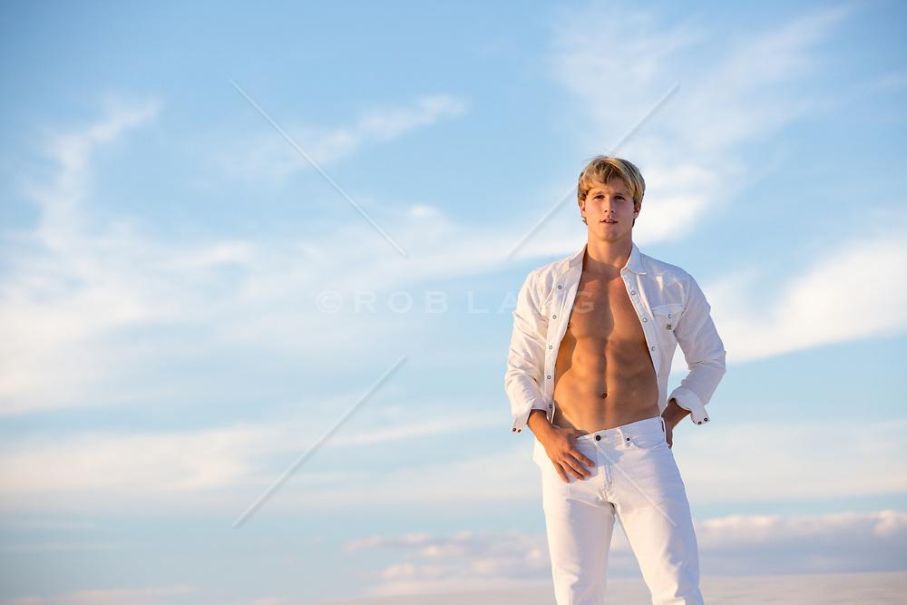 hot shirtless blond man outdoors