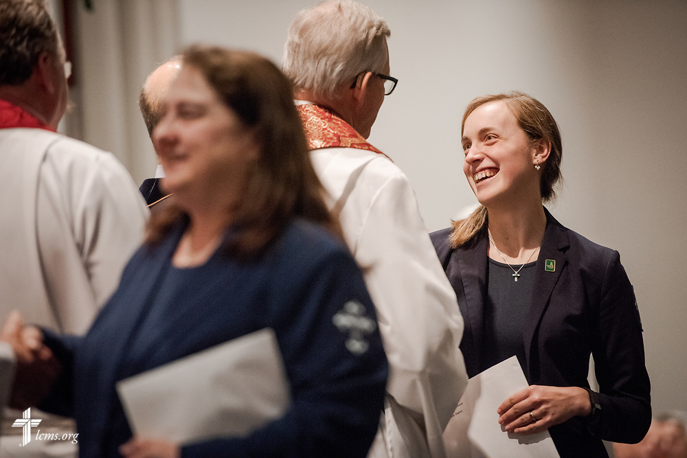 Deaconess candidates are given calls at the Service of Praise with Assignment of Calls in the Chapel of St. Timothy and St. Titus at Concordia Seminary, St. Louis, on Tuesday, April 24, 2018. LCMS Communications/Erik M. Lunsford