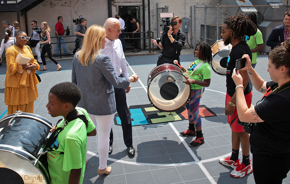 Former Vice-President Joe Biden now Democratic presidential candidate with Rep. Cedric Richmond visiting the Youth Empowerment Project (YEP) in New Orleans, Louisiana on July 23, 2019.
