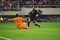 December 13, 2018 - Piraeus, Attiki, Greece - Save of goalkeeper of Olympiacos (no 93) Jose Sa in front of Gonzalo Higuain (no 9) of Milan. (Credit Image: © Dimitrios Karvountzis/Pacific Press via ZUMA Wire)