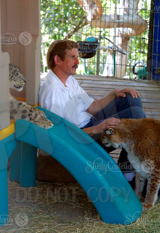 Apr 03, 2002; Lake Elsinore, CA, USA; ABBY HENDENGRAN owner of Tiger Creek, a non-profit organization dedicated to the conservation of endangered wildcats. Abby seen here playing with a few tigers that live on his property.<br />Mandatory Credit: Photo by Shelly Castellano/ZUMA Press.<br />(&copy;) Copyright 2002 by Shelly Castellano
