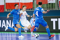 Birzhan Orazov of Kazakhstan and Mikolaj Zastawnik of Poland during futsal match between Poland and Kazakhstan at Day 3 of UEFA Futsal EURO 2018, on February 1, 2018 in Arena Stozice, Ljubljana, Slovenia. Photo by Urban Urbanc / Sportida