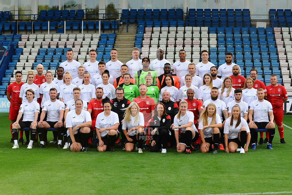 AFC Telford United pre-season photoshoot at the New Bucks Head Stadium on Thursday, August 1, 2019<br /> <br /> AFC Telford United first team and ladies team photo<br /> <br /> Free for editorial use only<br /> Picture credit: Mike Sheridan/Ultrapress<br /> <br /> MS201920-004