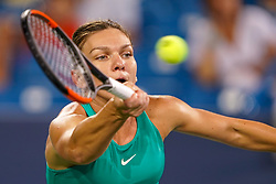 August 15, 2018 - Cincinnati, OH, U.S. - CINCINNATI, OH - AUGUST 15: Simona Halep (ROU) stretches to hit a forehand shot during the Western & Southern Open at the Lindner Family Tennis Center in Mason, Ohio on August 15, 2018. (Photo by Adam Lacy/Icon Sportswire) (Credit Image: © Adam Lacy/Icon SMI via ZUMA Press)