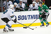 DALLAS, TX - OCTOBER 17:  Stephane Robidas #3 of the Dallas Stars controls the puck against the San Jose Sharks on October 17, 2013 at the American Airlines Center in Dallas, Texas.  (Photo by Cooper Neill/Getty Images) *** Local Caption *** Stephane Robidas