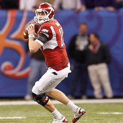 January 4, 2011; New Orleans, LA, USA; Arkansas Razorbacks quarterback Ryan Mallett (15) against the Ohio State Buckeyes during the third quarter of the 2011 Sugar Bowl at the Louisiana Superdome.  Mandatory Credit: Derick E. Hingle
