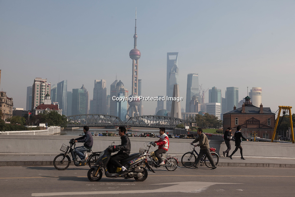 China, Shanghai. Pudong slyline and Waibadu bridge