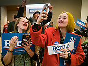 20 JANUARY 2020 - DES MOINES, IOWA: A woman uses her smart phone to photograph Sen. Bernie Sanders (Ind-VT) as he walks into a campaign event at the State Historical Museum of Iowa in Des Moines. Sen. Sanders is in Iowa campaigning to be the Democratic presidential nominee in 2020. Iowa hosts the first selection event of the presidential election cycle. The Iowa Caucuses are Feb. 3, 2020.     PHOTO BY JACK KURTZ