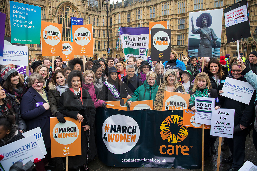 © Licensed to London News Pictures. 04/03/2018. London, UK. Politicians and celebrities including Mayor of London Sadiq Khan, Bianca Jagger and Sandi Toksvig join March 4 Women which marks the centenary of the Representation of the People's Act 1918 by retracing the steps of the Suffragettes from Parliament to Trafalgar Square. Photo credit: Rob Pinney/LNP