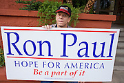 """May 22, 2008 - Phoenix, AZ: TOM STRIZAK, from Black Canyon City, AZ, waits to listen to Ron Paul in Phoenix Thursday. Strizak said he supported Paul's presidential campaign because """"Ron Paul is our last hope."""" About 850 people crowded into the ballroom at the Pointe Hilton Squaw Peak Resort in Phoenix, AZ, to hear Republican presidential hopeful Ron Paul speak. Although Arizona Sen. John McCain is the """"presumptive"""" Republican candidate for president, Texas Congressman Ron Paul is staying in the race and actively campaigning for the Presidency. Photo by Jack Kurtz"""