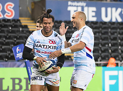 Teddy Thomas of Racing 92 celebrates scoring his sides second try<br /> <br /> Photographer Simon King/Replay Images<br /> <br /> European Rugby Champions Cup Round 3 - Ospreys v Racing 92 - Saturday 7th December 2019 - Liberty Stadium - Swansea<br /> <br /> World Copyright © Replay Images . All rights reserved. info@replayimages.co.uk - http://replayimages.co.uk