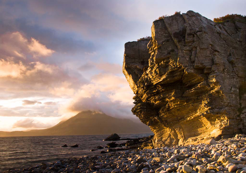 Sunset on the cliffs of Elgol, Isle of Skye, Scotland