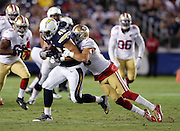San Diego Chargers tight end Matt Weiser (46) gets tackled by San Francisco 49ers linebacker Shayne Skov (56) after catching a third quarter pass for a gain of five yards during the 2016 NFL preseason football game against the San Francisco 49ers on Thursday, Sept. 1, 2016 in San Diego. The 49ers won the game 31-21. (©Paul Anthony Spinelli)