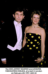 The HON.JEFFREY MANTON and JENNIFER, VISCOUNTESS CHELSEA, at a ball in London on February 6th 1997.LWH 33