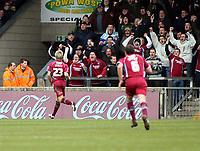 Photo: Mark Stephenson/Richard Lane Photography. <br /> Scunthorpe United v Cardiff City. Coca-Cola Championship. 19/04/2008. Scunthorpe's Kevan Hurst ( L) celebrates his goal