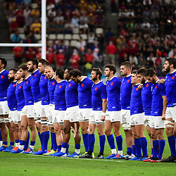 France line up before the Rugby World Cup 2019 Quarter Final match between Wales and France on October 20, 2019 in Oita, Japan. (Photo by Dave Winter/Icon Sport) - Oita Stadium - Oita (Japon)