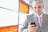 Middle aged businessman using cell phone at railroad station