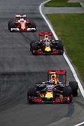 June 9-12, 2016: Canadian Grand Prix. Max Verstappen, Red Bull , Daniel Ricciardo (AUS), Red Bull, Sebastian Vettel (GER), Ferrari