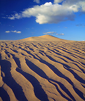 I went to the Dumont Dunes to do some amazing sand dune photography while there was blue sky with puffy white clouds  to contrast against the sand ripples.