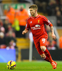 Liverpool's Alberto Moreno sprints forward - Photo mandatory by-line: Matt McNulty/JMP - Mobile: 07966 386802 - 10/02/2015 - SPORT - Football - Liverpool - Anfield - Liverpool v Tottenham Hotspur - Barclays Premier League