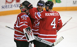 Goalkeeper Cam Ward, Steve Staios and Jay Bouwmeester of Canada after play-off round quarterfinals ice-hockey game Norway vs Canada at IIHF WC 2008 in Halifax,  on May 14, 2008 in Metro Center, Halifax, Nova Scotia,Canada. (Photo by Vid Ponikvar / Sportal Images)