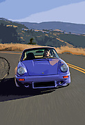 Image of a blue 1974 Porsche 911 RS sports car in Washington state, Pacific Northwest, model and property released