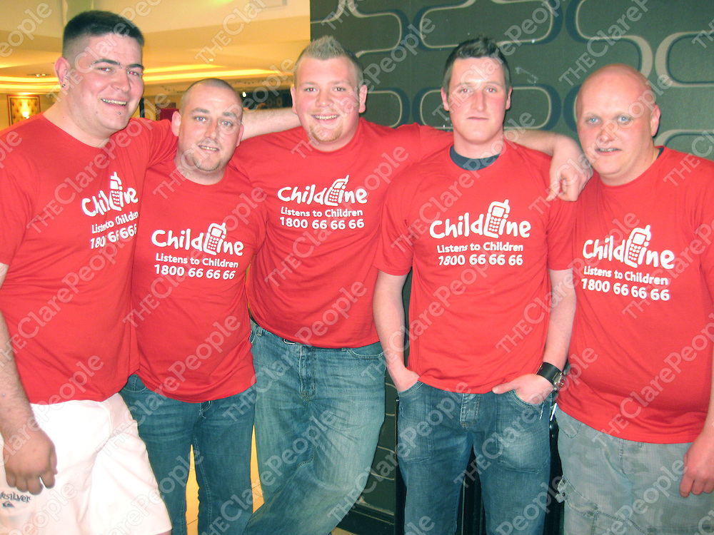 Security staff at May  Kearneys nightclub who took part in the waxing fundraiser for Childline - Aidan O'Connor, Paudie Moloney, Gordon Britchfield, David Phillips and Ronan Hand.